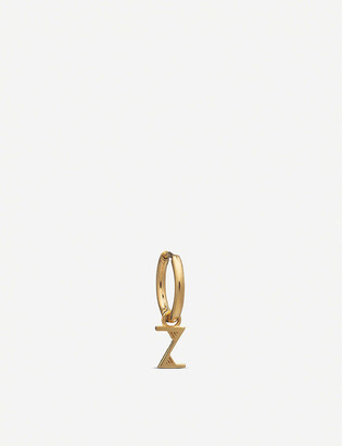 Rachel Jackson Initial huggie hoop 22ct yellow gold-plated sterling silver earring