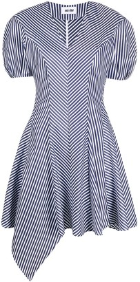 Each X Other Re-Sculptured Striped Puff Sleeve dress