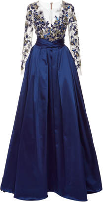 Pamella Roland Satin Gown With Metallic Flower Embroidered Bodice