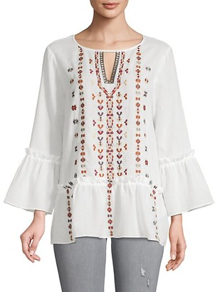 Laundry by Shelli Segal Embroidered Boho Cotton Top