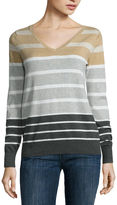 Liz Claiborne Long Sleeve V Neck Pullover Sweater