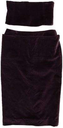 Saint Laurent Burgundy Cotton Skirt for Women