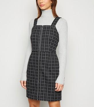 New Look Check Zip Up Mini Pinafore Dress