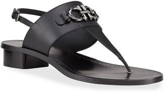 Salvatore Ferragamo Rouche Leather Slingback Thong Sandals