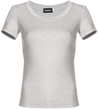 GOODIOUS ribbed round neck T-shirt