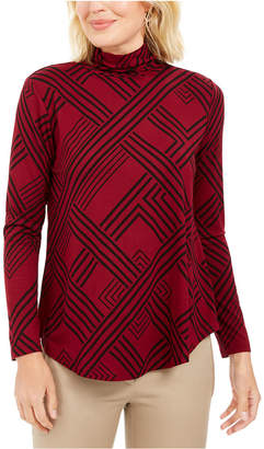 JM Collection Petite Long Sleeve Turtleneck Printed Top