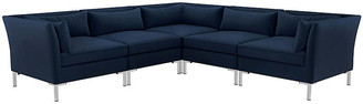 One Kings Lane Marceau L-Shaped Sectional - Silver/Navy Velvet