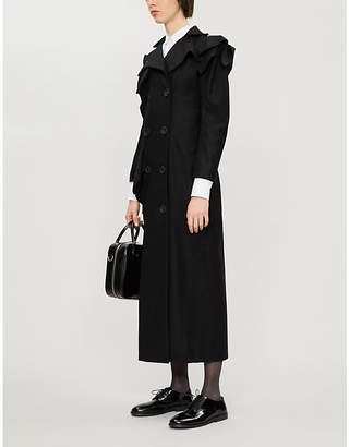 Yohji Yamamoto Asymmetric double-breasted wool-blend coat
