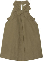 Ulla Johnson Mako Cotton And Linen-blend Twill Halterneck Top - Army green