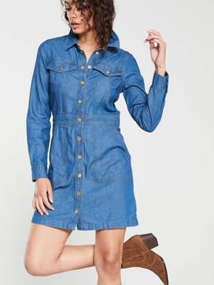 Warehouse Snap Front Pocket Denim Dress - Mid Wash