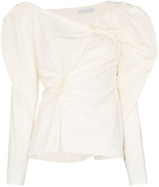 REJINA PYO Cassie asymmetric neck ruched top