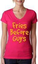 Allntrends Women's V Shirt Fries Before Guys (XL, )