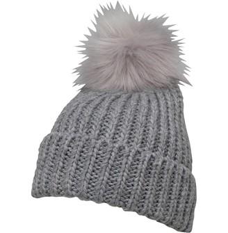 Board Angels Womens Rib Hat With Faux Fur Pom-Pom Grey Marl