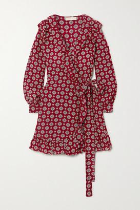 MICHAEL Michael Kors Ruffled Printed Silk-crepe Mini Wrap Dress - Burgundy