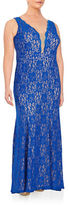 Xscape Evenings Plus Mesh-Accented Lace Gown