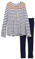 Juicy Couture Faux Suede Trim Hi-Lo Striped Tunic & Stretch Ponte Legging Set (Little Girls)