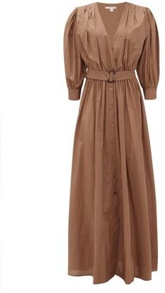 White Story - Aphrodite Belted Cotton-poplin Shirt Dress - Brown