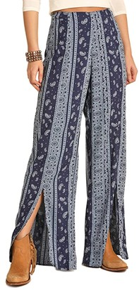 Rock and Roll Cowgirl Wide Leg Pants 72-4519 (Navy) Women's Clothing