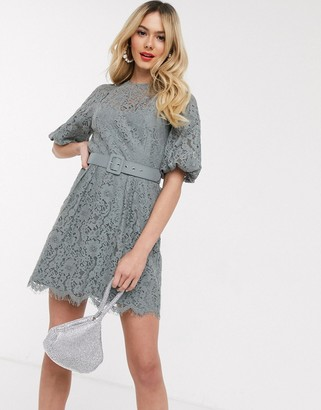 Little Mistress belted lace mini dress in grey