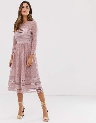 Asos Design DESIGN lace midi skater dress-Pink