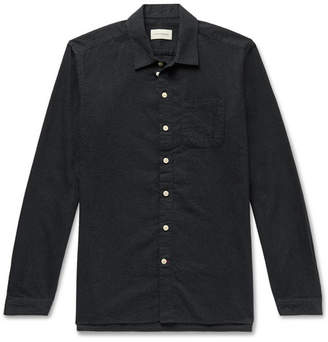 Oliver Spencer Slim-Fit Striped Flocked Cotton-Blend Shirt