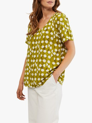 White Stuff Amora Spot and Chevron Print T-Shirt, Limestone Green