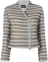 Emporio Armani scalloped detail jacket - women - Lamb Skin/Polyester - 44