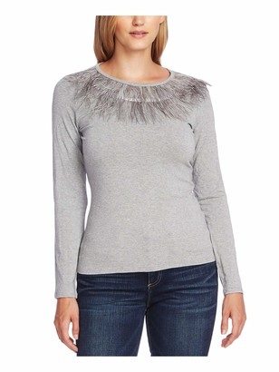 Vince Camuto Womens Gray Fringed Heather Long Sleeve Jewel Neck Peasant Top UK Size:4