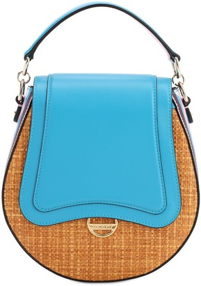 Emilio Pucci Dora Raffia & Leather Top Handle Bag