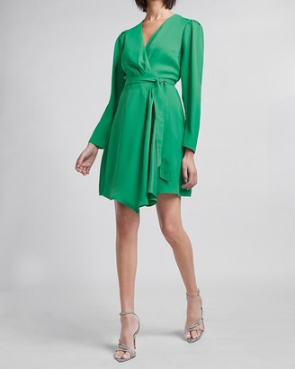 Express Puff Sleeve Side Tie Wrap Dress
