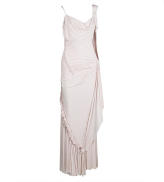 Zac Posen Blush Pink Knit Draped Cord Detail Sleeveless Gown S