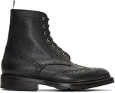 Thom Browne Black Wingtip Boots
