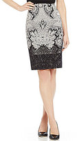 Antonio Melani Berta Printed Crepe/Lace Pencil Skirt