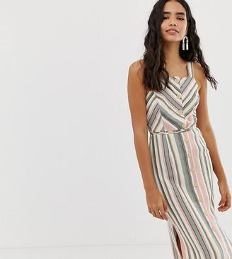 Miss Selfridge linen midi dress with button detail in stripe-Multi