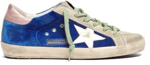 Golden Goose Super Star Contrast Panel Leather Trainers - Womens - Blue