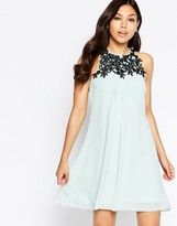 Little Mistress High Neck Dress With Lace Detail