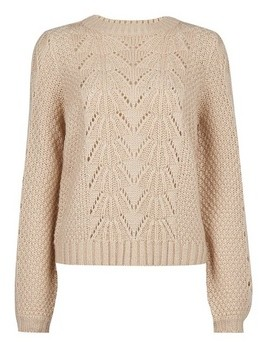 Dorothy Perkins Womens Stone Pointelle Stitch Jumper