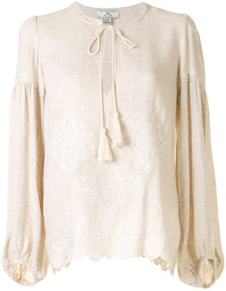 We Are Kindred Tie-Neck Jacquard Blouse