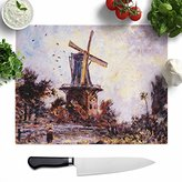 "Big Box Art ""Johan Jongkind Windmill"" Glass Chopping Board, Multi-Colour, 39 x 29 cm, Large"