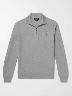 Polo Ralph Lauren Logo-Embroidered Waffle-Knit Pima Cotton Half-Zip Sweater