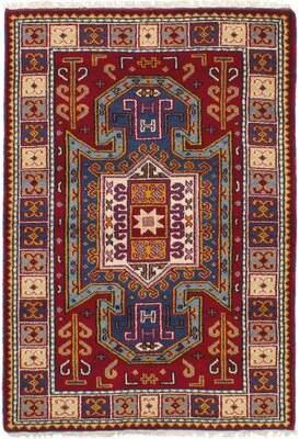 "Hartford Bloomsbury Market One-of-a-Kind New Royal Kazak Hand-Knotted 4' x 5'11"" Wool Dark Red Area Rug Bloomsbury Market"