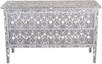 Mother of Pearl Octavia Inlay Long Two Drawer Chest Moghul Flower Taupe And Grey