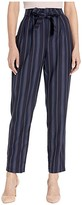 Pendleton Stripe Belted High-Waisted Pants (Navy Linen Weave Stripe) Women's Casual Pants