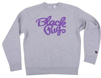 Black Pug - Grey Crew Stock Sweater - Small / White - Grey/White/Pink