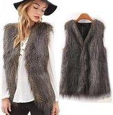 Malltop Elegant Women Faux Fur Vest Plush Sleeveless Waistcoat Outerwear