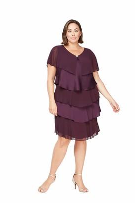 SL Fashions Women's Plus Size Short Sleeve Pebble Tier Dress