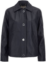 MICHAEL Michael Kors Women's Cropped Leather Trench Coat New Navy