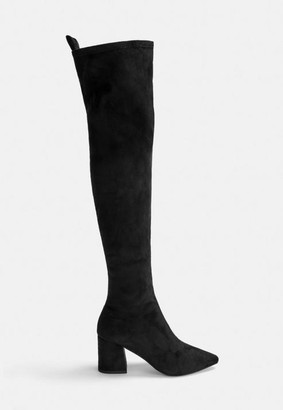 Missguided Black Mid Heel Faux Suede Over The Knee Boots