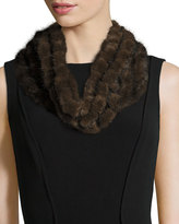 Surell Mink Fur Crocheted Cowl, Brown