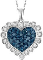 Fine Jewelry 1/2 CT. T.W. White and Color-Enhanced Blue Diamond Sterling Silver Heart Pendant
